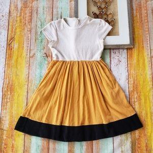 See by Chloe Crinkle Colorblock Mustard Mini Dress